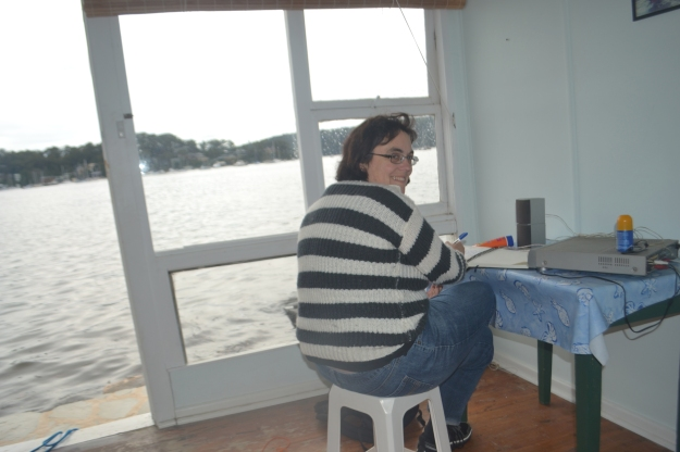 Writing in my journal at Palm Beach yesterday. I was so focused on the view I didn't even notice the DVD player on the table. I was in the zone.
