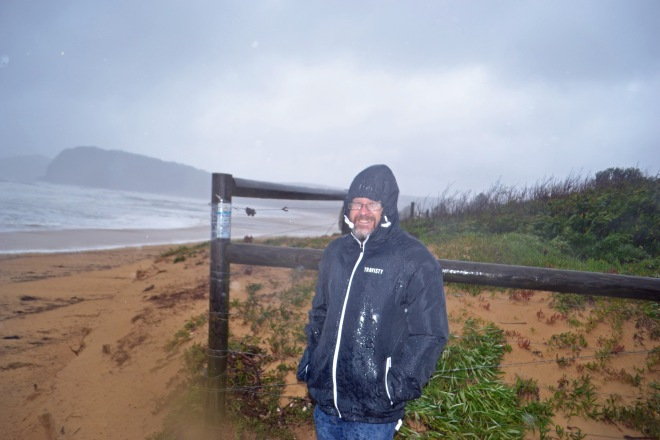Geoff out in the storm at Ocean Beach.