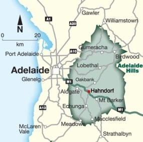 Map showing the location of Hahndorf.