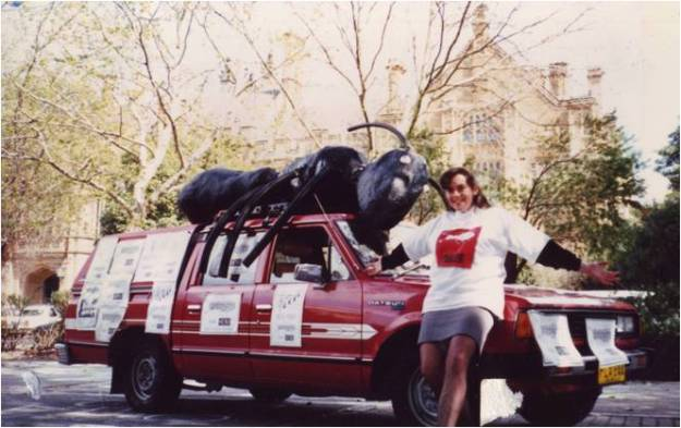 Here I am posing in front of the Ant-Mobile running for editorship of Honi Soit in 1991.