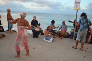 We stumbled across this random group of whatsy-me-call-its: dancers, musos and hangers on which meets around sunset at the Northern end of the beach. They sure showed me you're never too old to boogie!