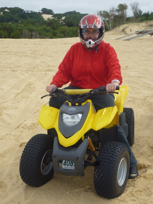 Here I am riding the quad bike. Of all the activities, this one took me most out of my comfort zone.