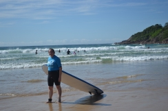 Not so cool...lugging my surfboard.