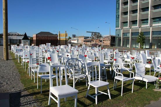 Memorial to the lives lost in the Christchurch Earthquake. On the 3rd anniversary of the earthquake, a single red carnation on each chair in remembrance of all those who died. Photo: Joyce Majendie