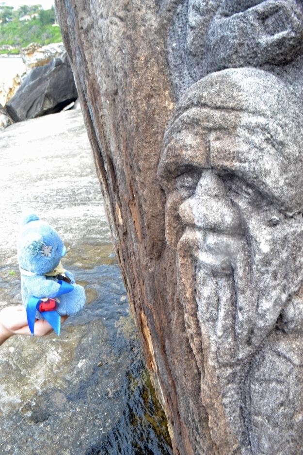 Wally seeking wisdom from an Aboriginal elder at Whale Beach.
