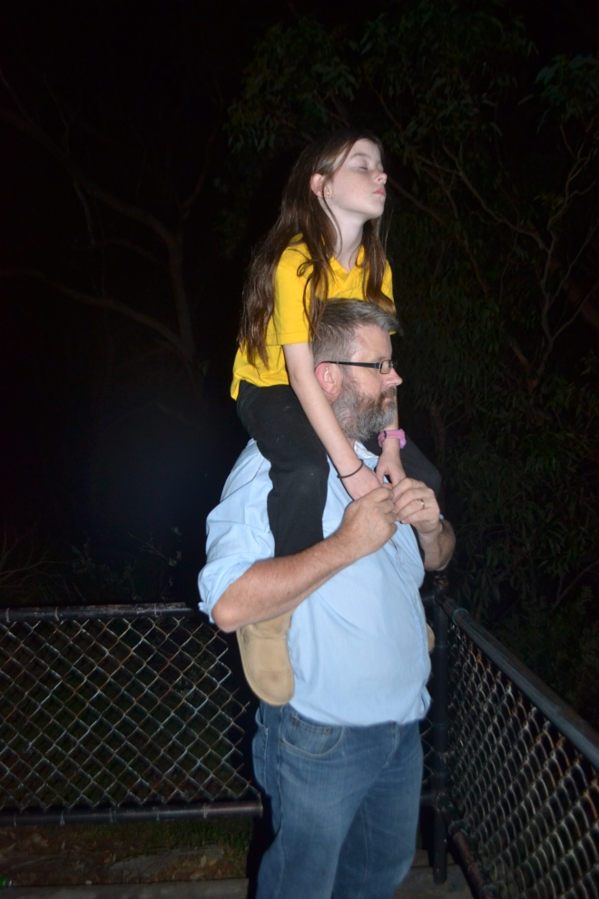 Geoff and Miss watching the moon rise.
