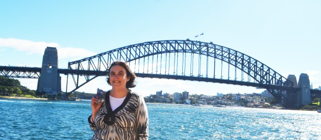 Wally & I with the Sydney Harbour Bridge. Taken beside the Sydney Opera House.