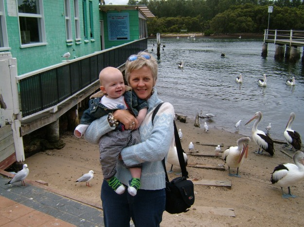 Mister with my aunt at Fisherman's Wharf back in 2004 when he was only a few months old and bald was beautiful!