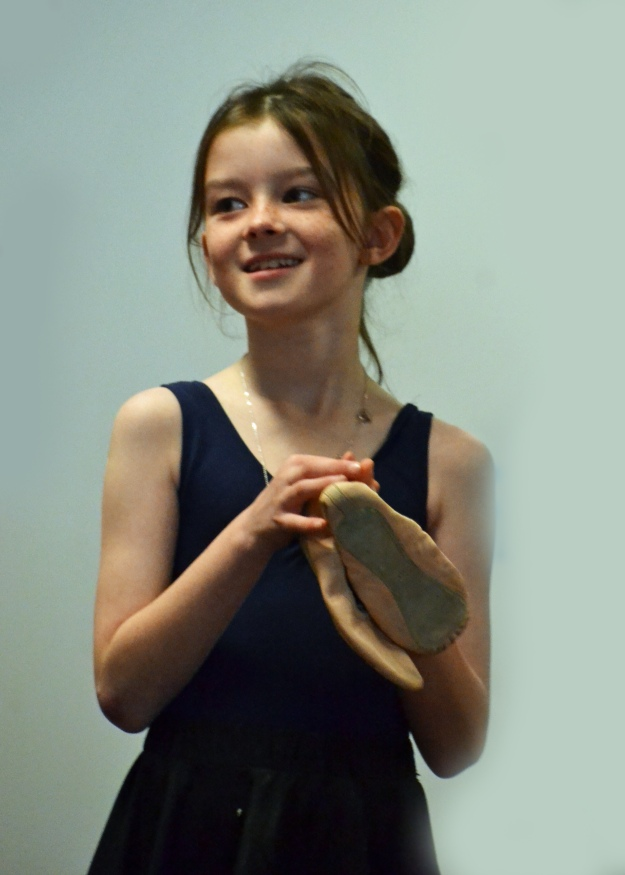 Amelia with ballet shoes