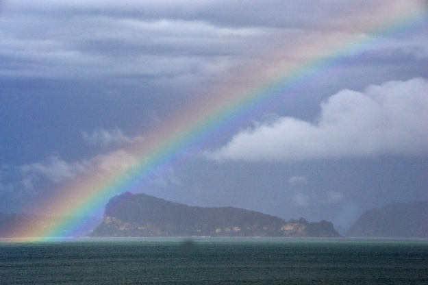 The elusive rainbow finally captured over Lion Island.