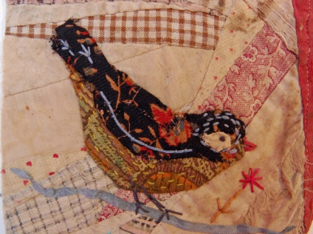 Thread and Thrift: Crazy Patchwork Appliqued Birds by Mandy Pattullo http://threadandthrift