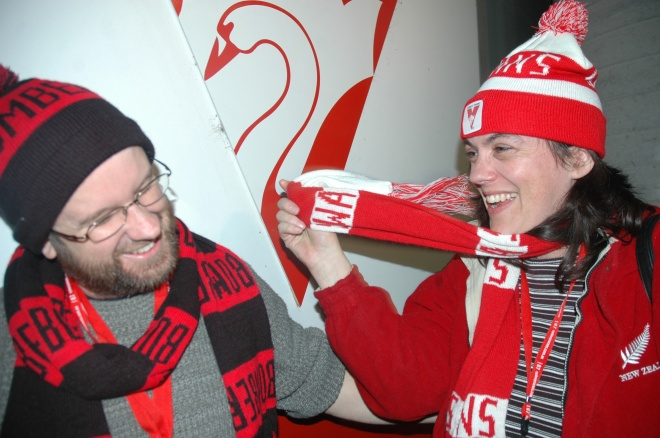 Somewhat friendly banter between opposing supporters at the Swans vs Essenden match July 2007: my husband and I!