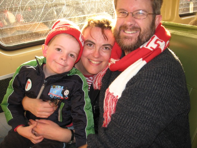 On the way to see Swans vs West Coast Eagles at ANZ Stadium in 2009. Mister played on the field with his team at half-time as part of the junior Auskick program.