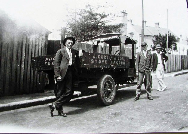 The J Curtin Truck with my Great Grandfather and Grandfather.