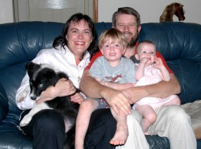 A family photo with Bilbo as a pup Mother's Day, 2007.