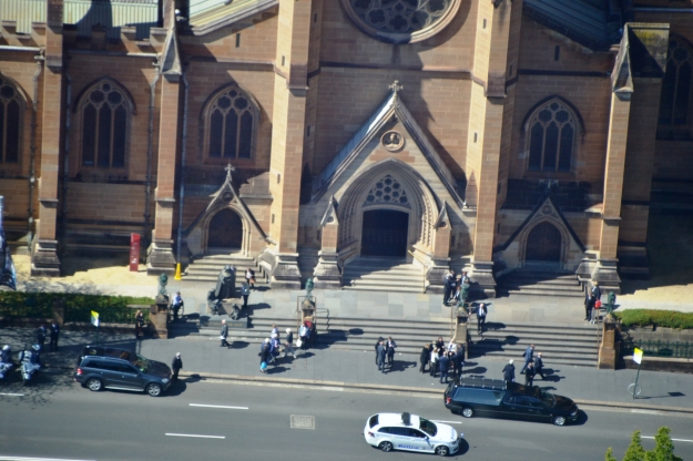 Catching a glimpse of the funeral of much loved Australian Horse, Bart Cummings from the Sydney Tower Eye.