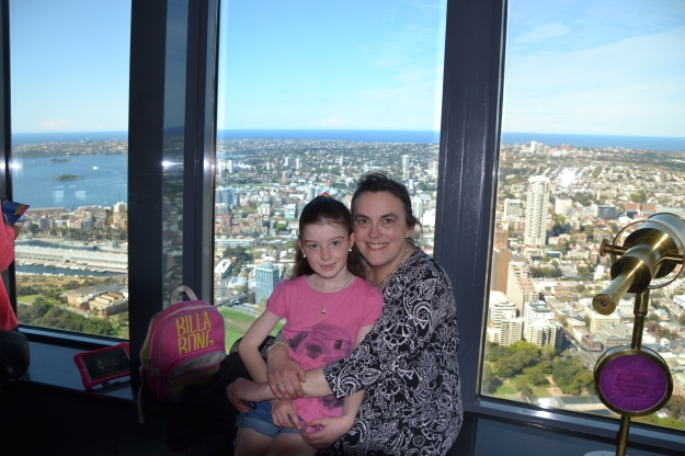 Miss and I at the top of Sydney's Centrepoint Tower.