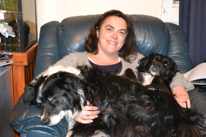 The Dogs and I. They both decided to pile onto my lap at once.