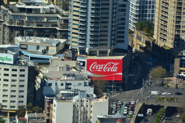 Kings Cross's Famous Coca Cola sign viewed from the Sydney Tower Eye.