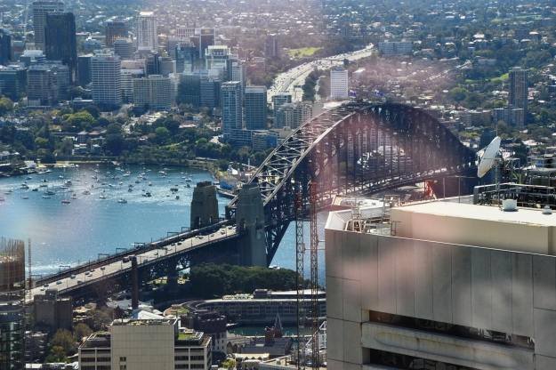 The Sydney Harbour Bridge viewed from Sydney Tower Eye.