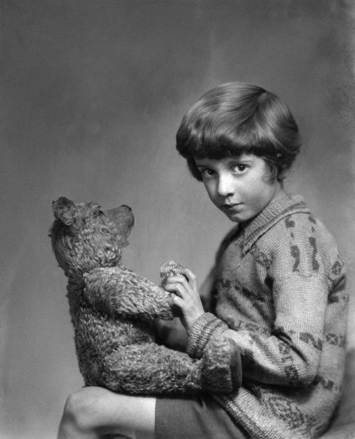 The real Christopher Robin and Poo9h Bear.