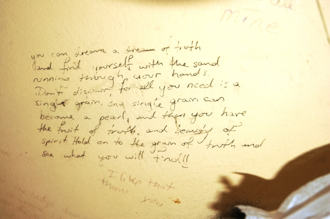Graffiti on the wall, Railway Park, 2009.