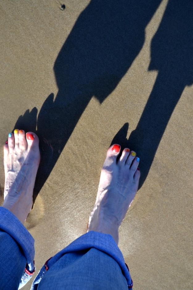 Feet in the sand.