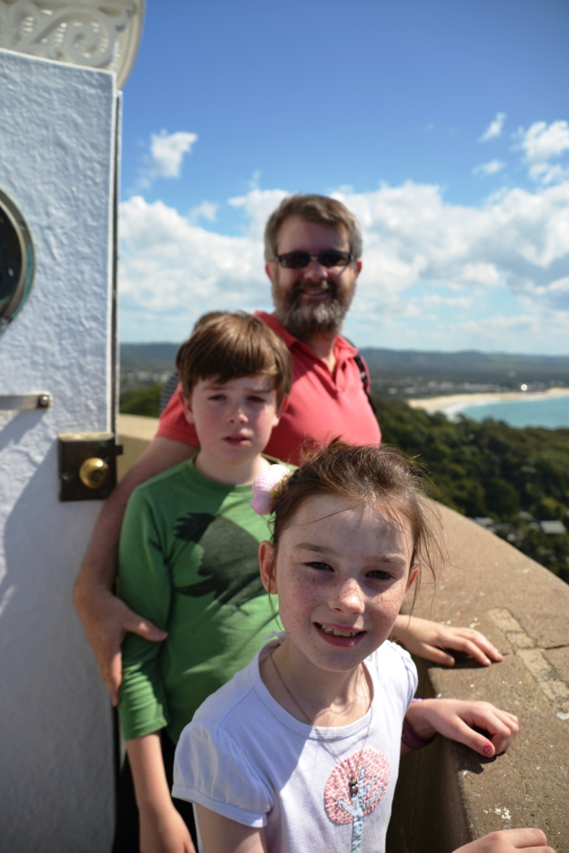Geoff and the kids at the top of Cape Byron Lighthouse.