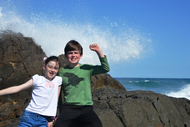 The kids near Byron Bay Lighthouse.