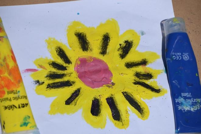 Mister's vibrant interpretation of a sunflower.