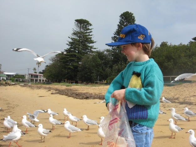 Mister feeding left over bread to the sea gulls back in 2009, aged 5.