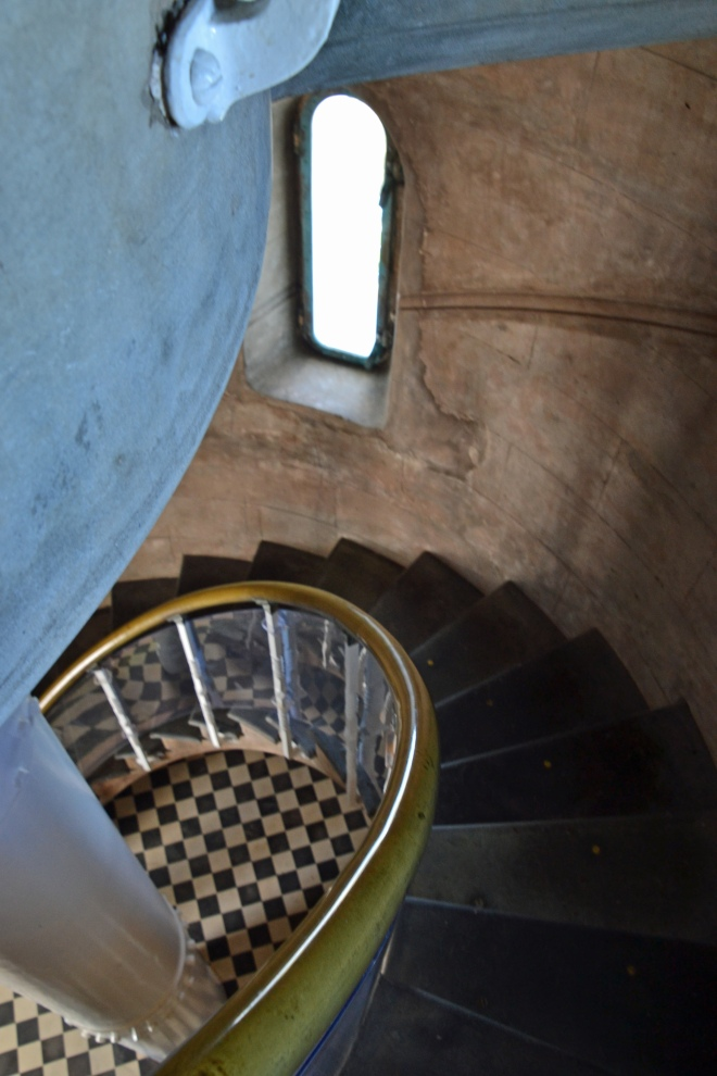 Looking down the spiral staircase. Quite striking but not quite Chanel.