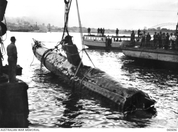 Japanese midget submarine retrieved after attack on Sydney Harbour.