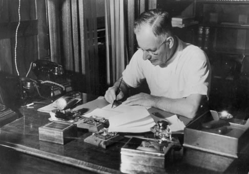John Curtin at his desk in The Lodge