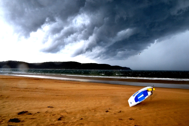 The Lifeguard's board wasn't much chop for taking on this almighty storm.