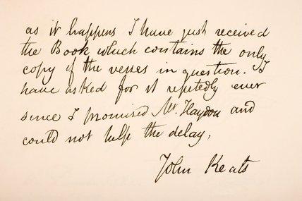 John Keats letter