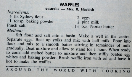 "My Grandmother's Waffle Recipe taken from the ""Around the World With Cooking"" Cookbook."