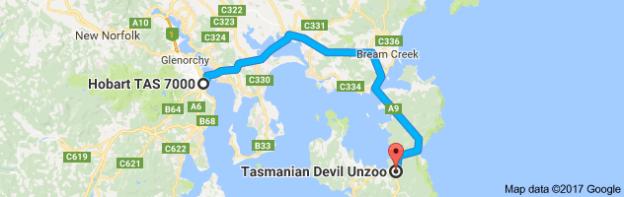 Hobart to Tasmanian Devil Unzoo