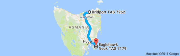 Map Bridport to Eaglehawk Neck