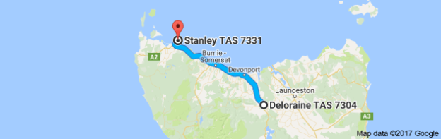 Map Deloraine to Stanley Tasmania
