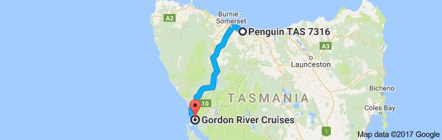 Map Penguin to Gordon River