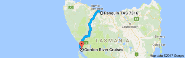 Map Penguin to Gordon River