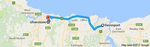 Map Ulverstone to Devonport
