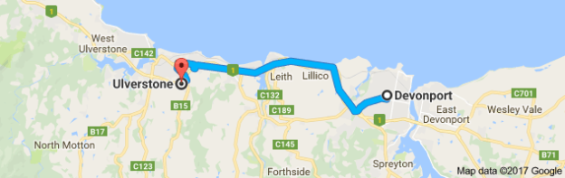 Map Ulverstone to Devonport