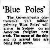 Blue Poles newspaper article 1974