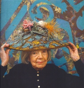 Eileen Agar wearing Ceremonial Hat for Eating Bouillabaisse