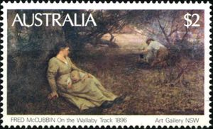 Fred-McCubbin-On-The-Wallaby-Track Stamp