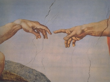 Michelangelo The Creation of Adam close up