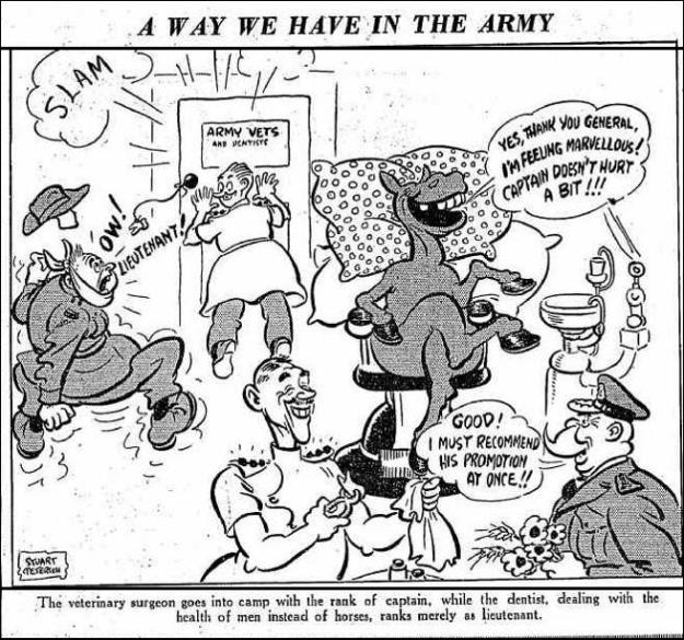 Army dentists cartoon 1940