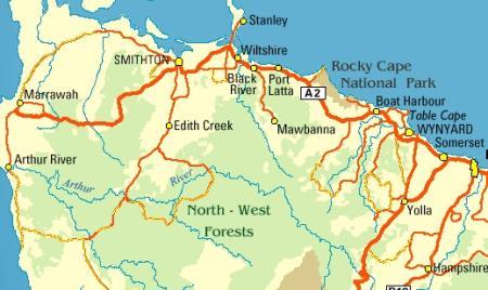 Map NW Tasmania